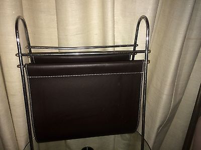 Carl Aubock Magazine Rack Leather and Metal Austria Mid Century Modern MCM
