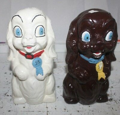 Vintage Pair of Carnival Prize Chalkware Concrete Dogs Figurines Brown White