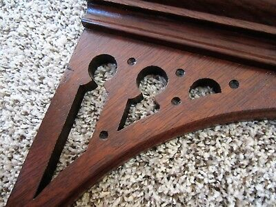 GOTHIC 1880 Tiger Oak Church Fretwork Victorian Furniture Pediment Cabinet Shelf
