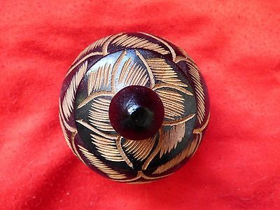 Native Hand Carved Black Round Trivet Box From Grand Turk Island Jewelry Box