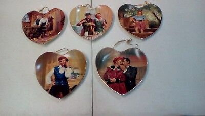 Authenic I Love Lucy Heart Shaped Plates 5 1/2 Inch lot