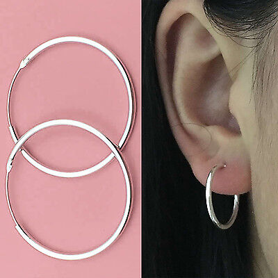 Fashion Small Endless Hoop Lip Nose Ear Studs 10/13mm Silver Earring XP