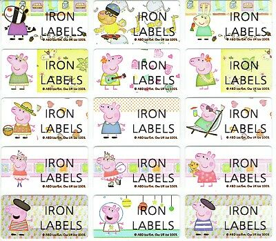 Medium Peppa Pig Personalised IRON On Clothing Name Labels, 30x13mm, Waterproof