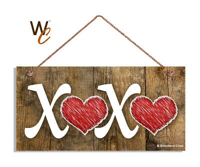 XOXO Sign, Valentine's Holiday Rustic 5x10 Wood Sign, Hearts, Great Gift