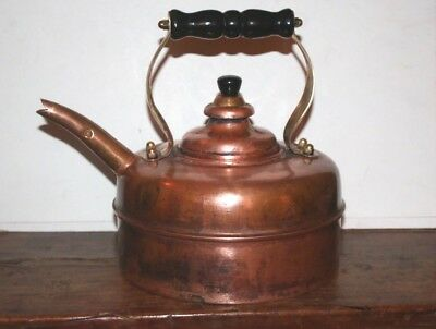 Simplex Solid Copper Whistling Tea Kettle - Nice - Made in England