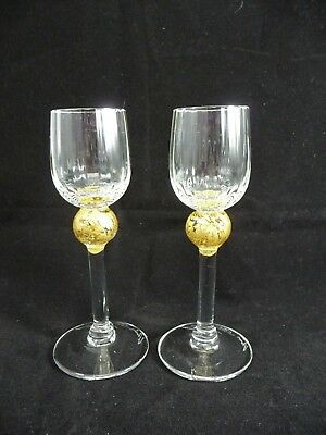 "2 Union Street Glass *MANHATTAN GOLD* 4 3/4"" Cordial Glasses"