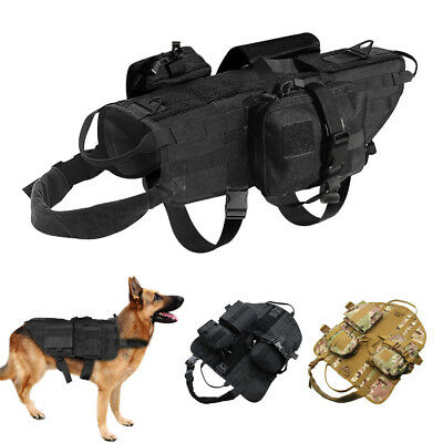 Military Molle Dog Training Harness K9 Tactical Vest with 3 Bags for Police Dogs