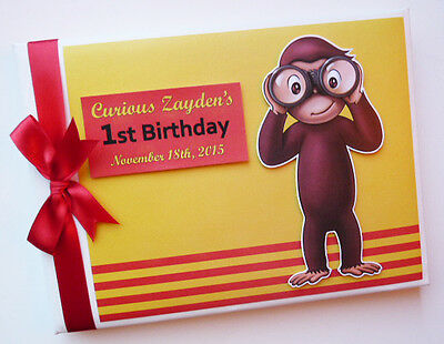 Personalised Curious George 1St Birthday Guest Book Any Design