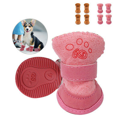 4pcs Winter Warm Padded Dog Shoes Non Slip Snow Rain Boots Booties for Pet Puppy
