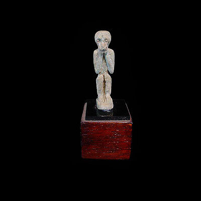 Egyptian pale azure glazed faience amulet of a standing vervet monkey. - a2681