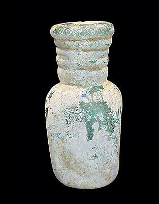 Roman green glass bottle, Circa 4th century A.D. Levant x5285
