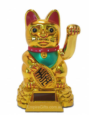 Gold Waving Money Cat (Maneki Neko) 100mm Solar Batteryless