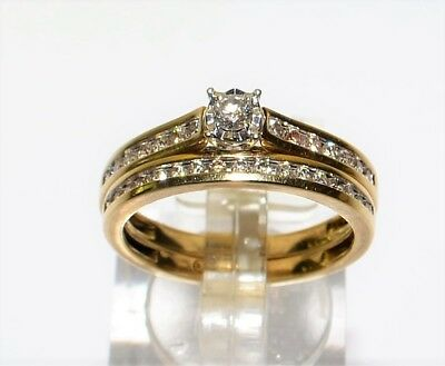 9k Yellow Gold Diamond Bridal Set 2x Ring Engagement Wedding 4.2gm Size O #628