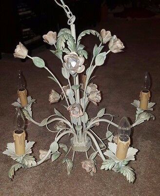 Vintage Italian Metal Floral Chandelier Tole w/5 Lights -Luminaire Made in Italy