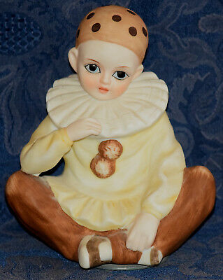 "Vintage MANN Musical Sad CLOWN DOLL Figurine 6"" Tall, JAPAN, !! FREE SHIPPING !!"