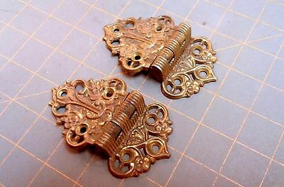 Pair Ice Box Door Hinges Cast Brass Victorian Circa 1890 Antique