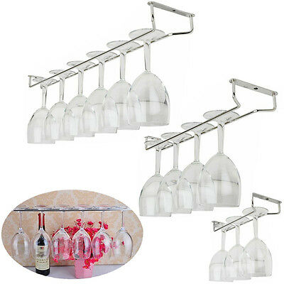 New Wine Rack Glass Holder Hanging Bar Hanger Iron Shelf Free Screws
