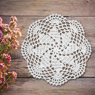 4Pcs/Lot White Vintage Hand Crochet Lace Doilies Round Table Place Mats 8inch
