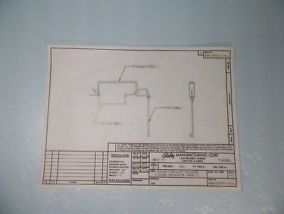 Original 1982 Gate Target Holder Assembly Engineer Drawing For Bally Pinball