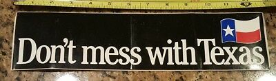 "One Vintage Black Don't Mess With Texas Bumper Sticker Decal 13"" X 3-1/4"""