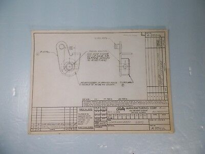 Original 1974 Left Flipper Lever Arm Assembly Engineer Drawing For Bally Pinball