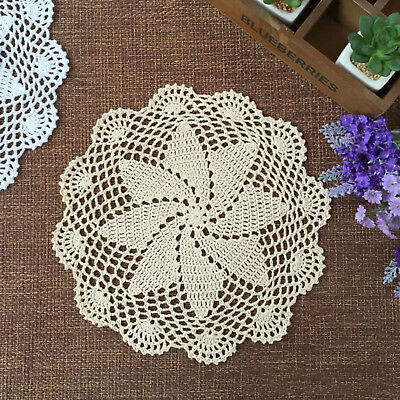 4Pcs/Lot Vintage Hand Crochet Lace Doilies Round Table Place Mats 10-11inch