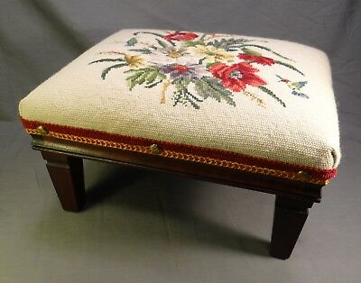 Antique Walnut and Needlepoint Upholstered Foot Stool Footstool