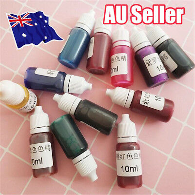 13x 10ml Coloring Dye Colorant 15 Color Mix Pigment Craft Epoxy UV Resin DIY EA