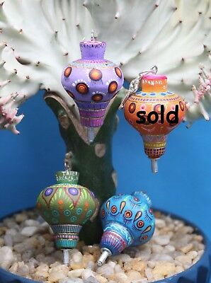 Alebrije Tops - 4 Colors - Hand Painted Wood Pendant or Ornament Mexico Folk Art