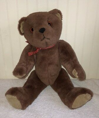 Vintage Brown Teddy Bear Jointed Plush Red Ribbon Suede Paws Stuffed Toy 18""