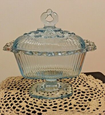 Vintage Indiana Glass ICE  Blue OPEN Lace Edge Lid Compote Candy Box  Dish