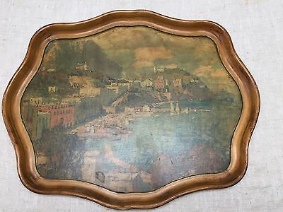 """VINTAGE WOODEN WALL HANGING/WOOD TRAY-SEASCAPE-LARGE 29"""" x 23"""" UNIQUE SHAPE-LOOK"""