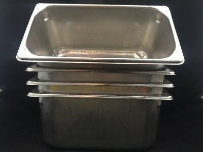 """Lot Of 4-Vollrath Superpan 30362 Stainless Steel-Steam Table Pans 1/3 Size 6"""" #4"""