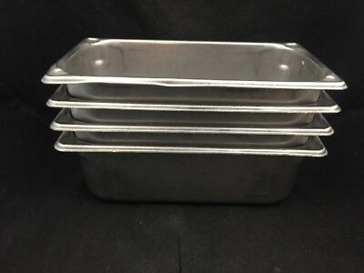 """Lot Of 4-Vollrath Superpan 30342 Stainless Steel-Steam Table Pans 1/3 Size 4"""" #2"""