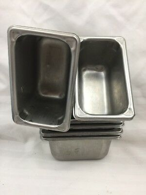 """Lot Of 6 Vollrath Superpan 30942 Stainless 18/8-Steam Table Pans 1/9 Size 4"""" #4"""