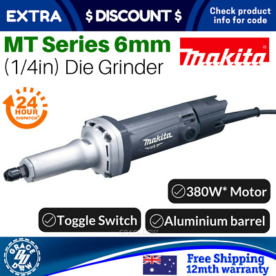 Makita 6mm Die Grinder Electric 1/4 Inch 240V 380W Corded Straight Mt Series