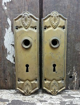 "2 VTG Old Shabby Rustic Fancy Ornate BRASS Door Knob Keyhole Backplate  8"" TALL"