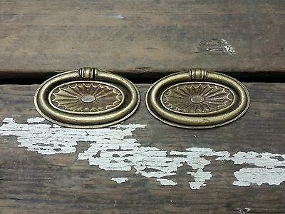 2 VTG Old Fancy Cast BRASS Shabby Rustic Pull Handle Drawer Dresser Desk Clock