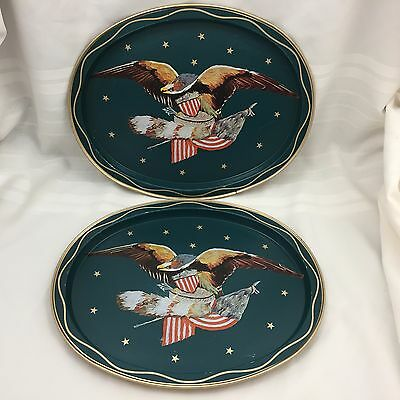 Pair (2) Vintage Metal Tin Oval Trays Serving Platters-Bald Eagle, American Flag