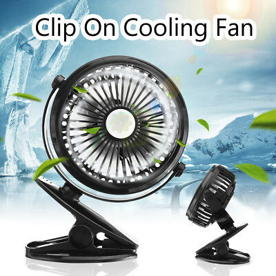 Clip On Mini Electric Cooling Fan Portable Oscillating Small Table Rechargeable