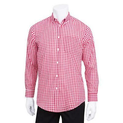 Chef Works - D500WRC-S - Men's Red Gingham Dress Shirt (S)