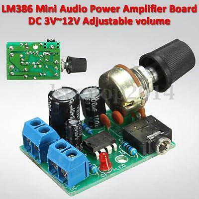 DC 3V-12V LM386 Audio Power Amplifier Board 5V Mini AMP Module Adjustable Volume