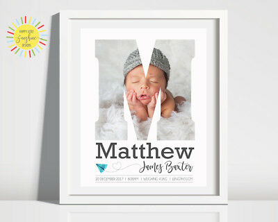 Nursery Baby Birth Print Photo Personalised Unisex, Any Letter, Paper Plane