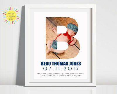 Nursery Baby Birth Print Personalised Photo Letter Unisex, Any letter