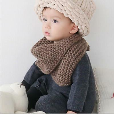 Boys Girls Toddlers Kids Neck Shawl Wrap Buckle Snood Scarf Knitted Warm NEW FI
