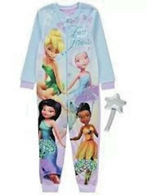 Girls Fleece One Piece Pyjamas Disney Fairies Tinker Bell all in one & Wand 3-4