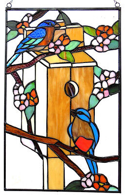 BLUE BIRD OF HAPPINESS Robin Birdhouse Feeder Flower STAINED GLASS WINDOW PANEL