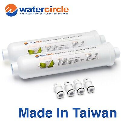 2 x Inline Silver Impregnated Anti-Bacterial Caravan Water Filter Cartridge