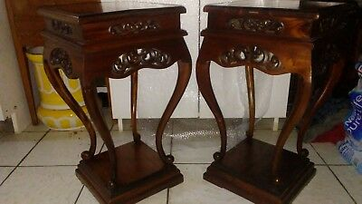 Vintage pair Chinese Chippendale rosewood mahogany? pedestal table carved Asian