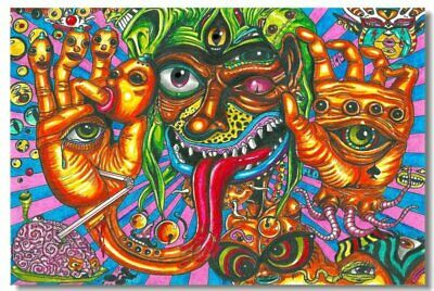 Poster Psychedelic Trippy Colorful Ttrippy Surreal Abstract Astral Art Print 73
